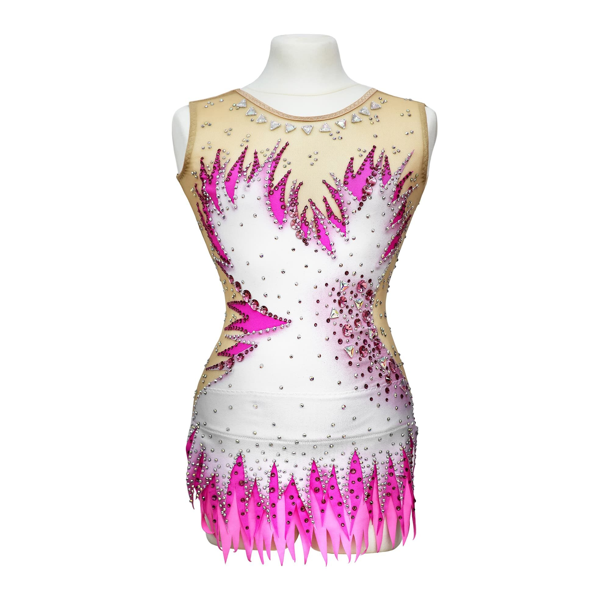 Magento, rose, white, mesh Rhythmic Gymnastics Leotard 235 for competitions