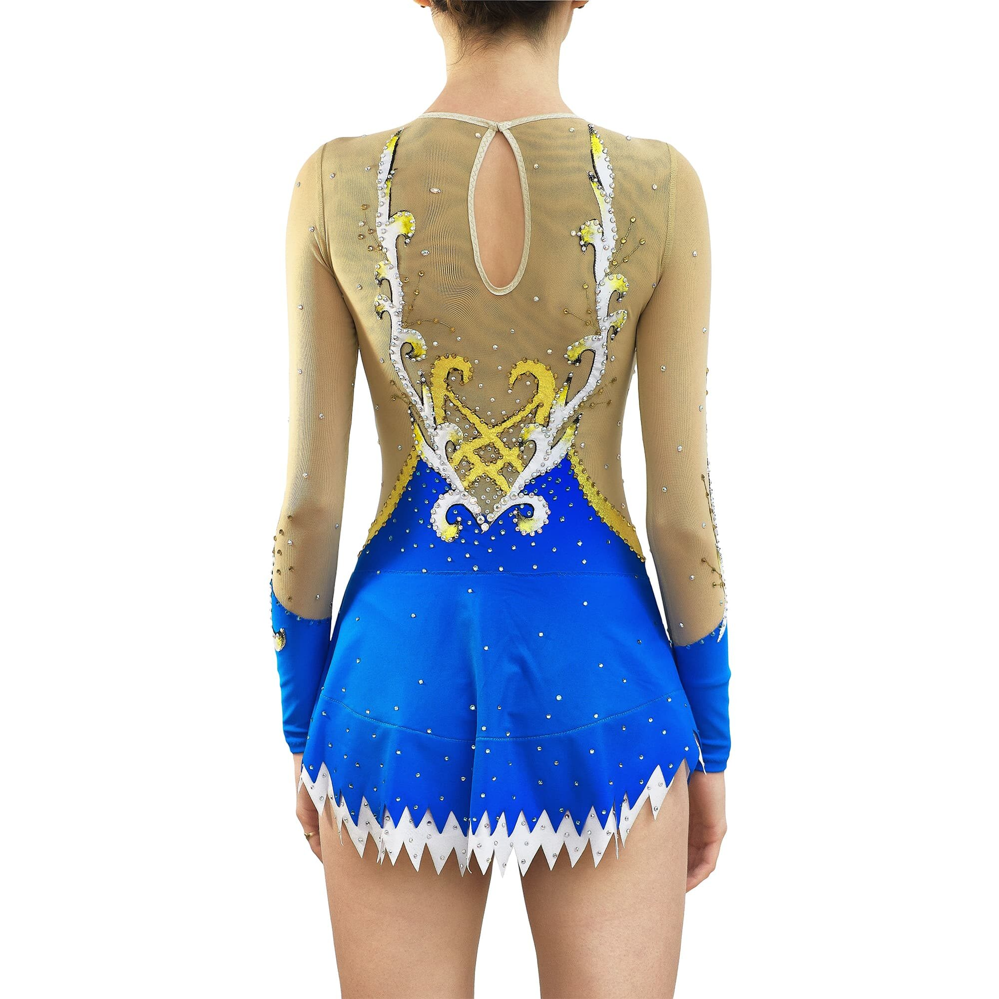 Royal blue, white, gold, mesh Rhythmic Gymnastics Leotard 236 for competitions