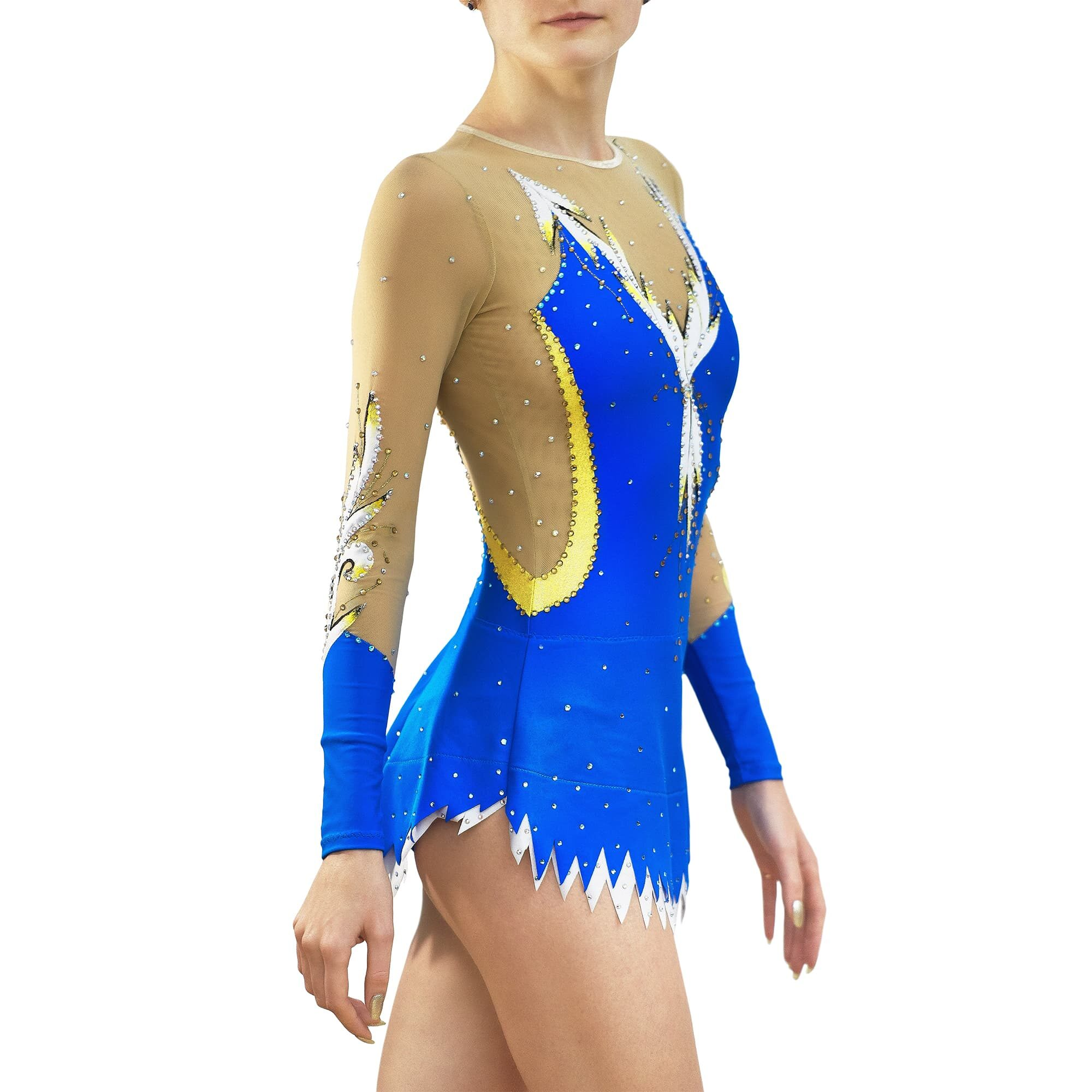 Royal blue, white, gold, mesh Rhythmic Gymnastics Leotard 236 for competitions