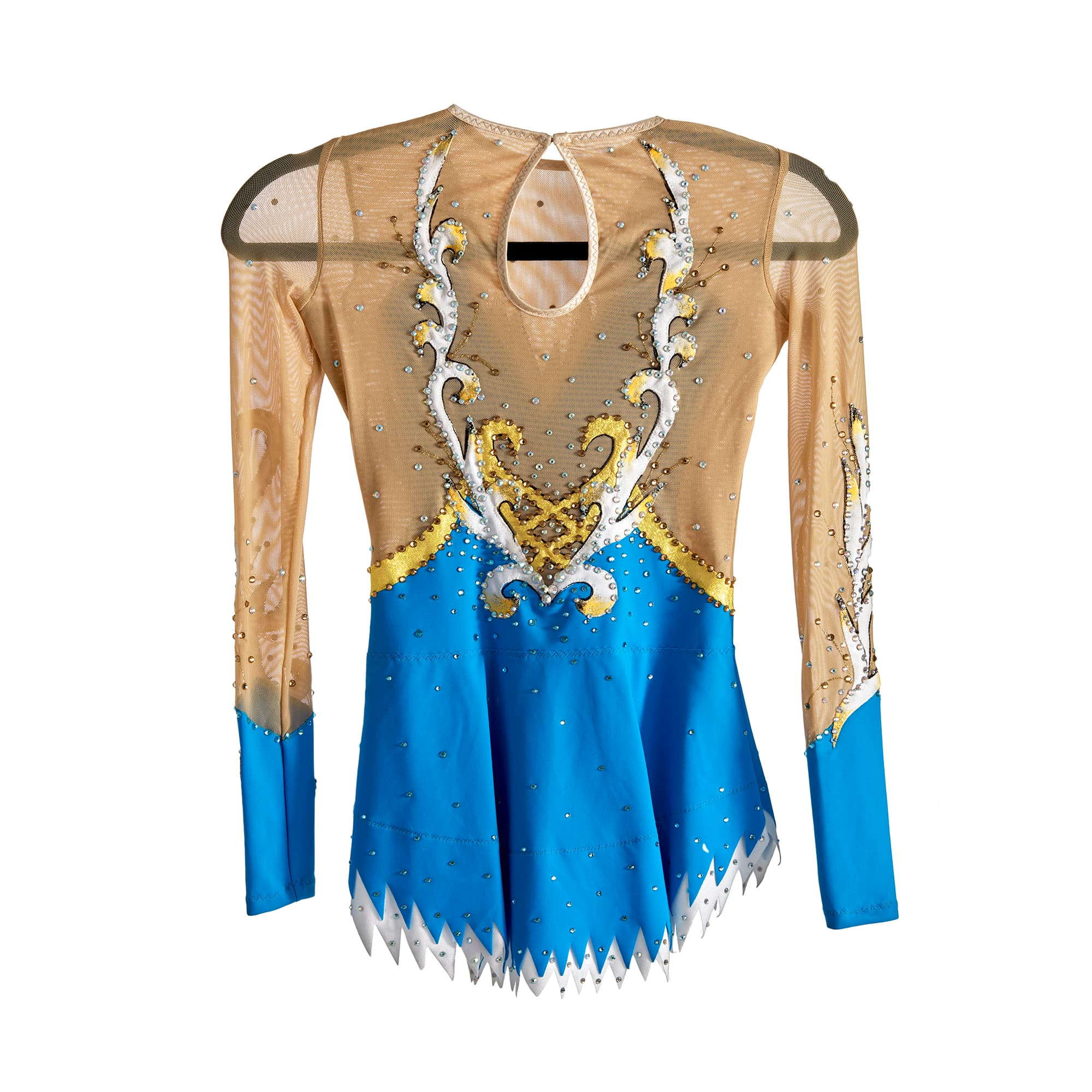 Back of Stock Competition Leotard № 236 with two sleeves & collarless made in Royal Blue, Silver & Gold colours