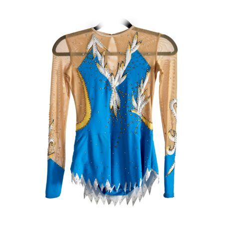 Front of Stock Competition Leotard № 236 with two sleeves & collarless made in Royal Blue, Silver & Gold colours