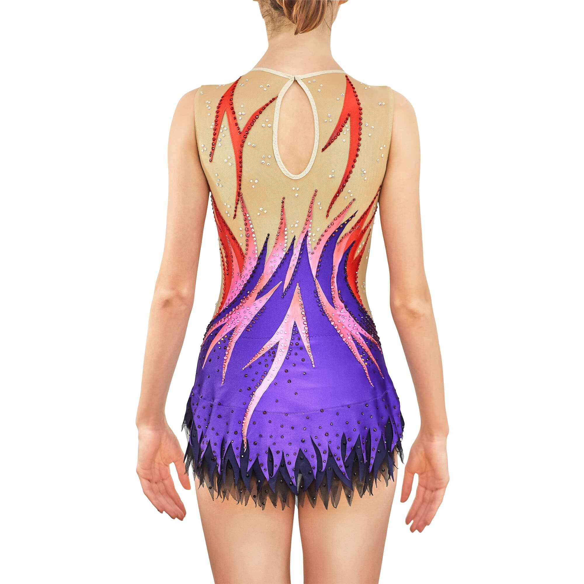 Red, rose, violet, black, mesh collarless & sleeveless Rhythmic Gymnastics Leotard 239 for competitions