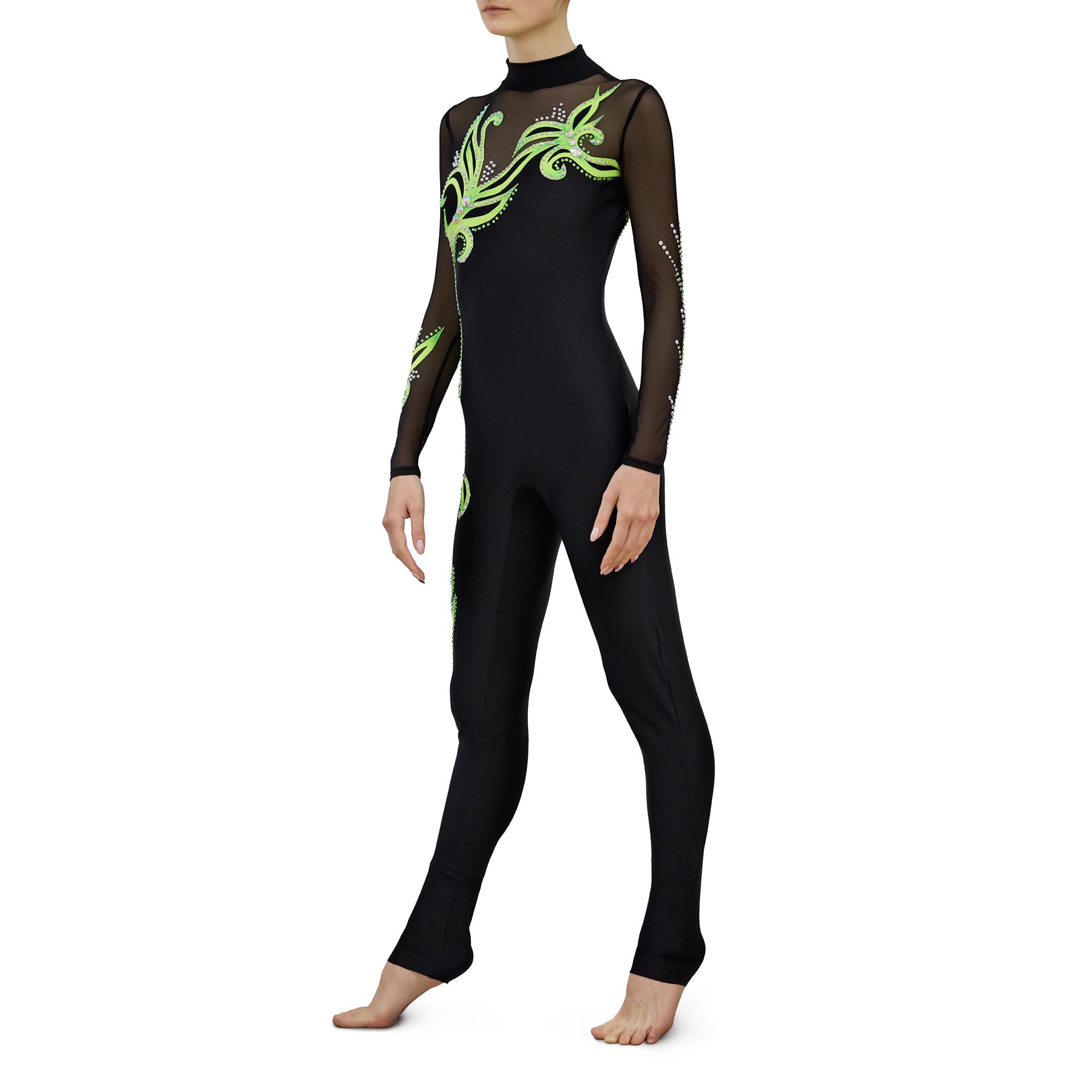 Black, lemon, black mesh Acrobatic Gymnastics Jumpsuit 243 with two sleeves & collar