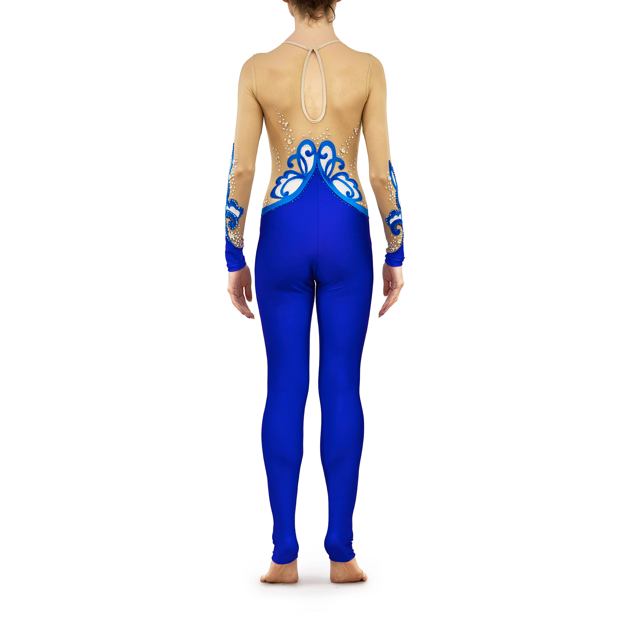Royal blue, white Acrobatic Gymnastics Dress 244 with sleeves & without collar