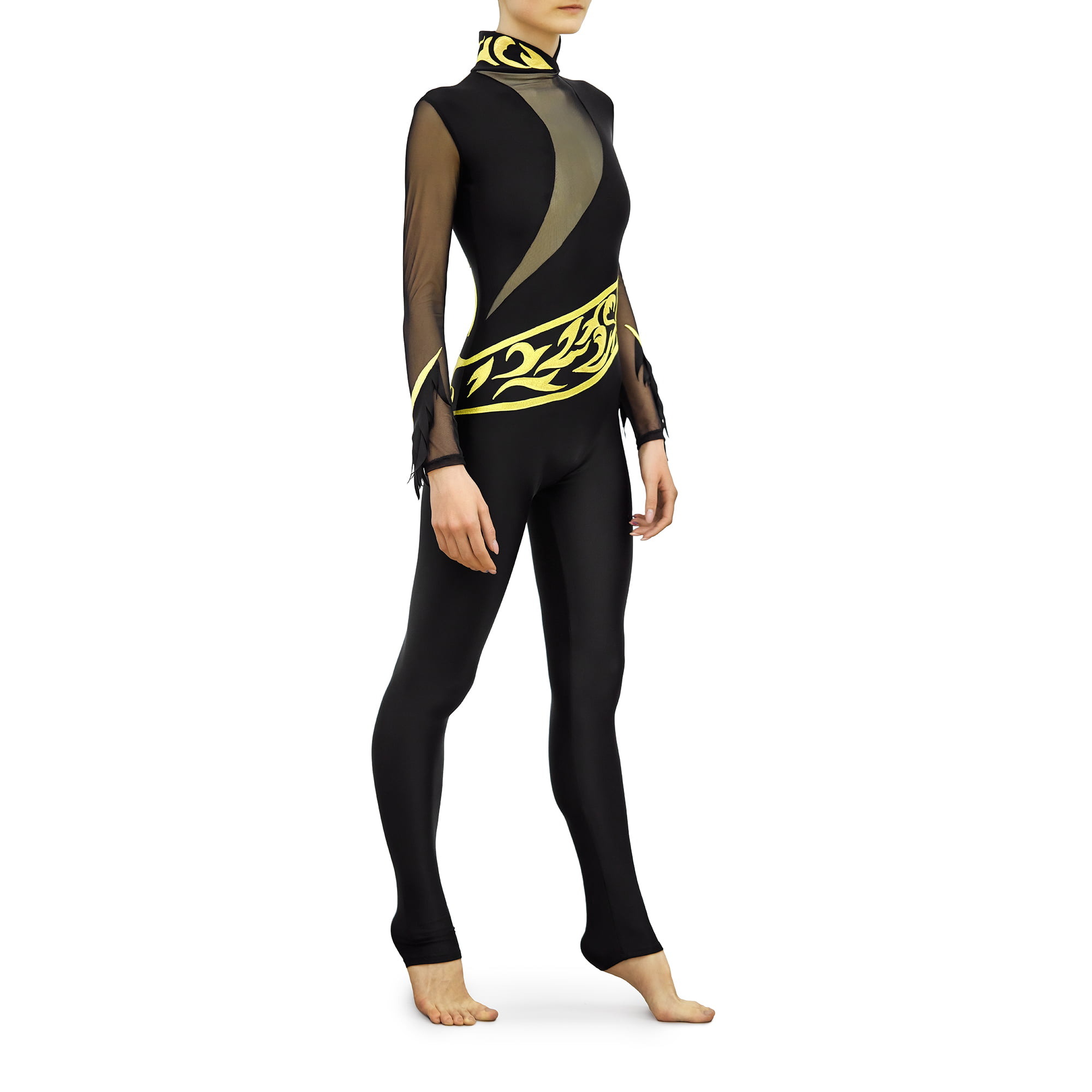 Black, gold, black mesh Rhythmic Gymnastics Jumpsuit 245 with collar and two sleeves