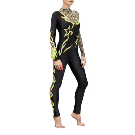 Black, lemon, gepard Rhythmic Gymnastics Jumpsuit 248 with sleeves & collar