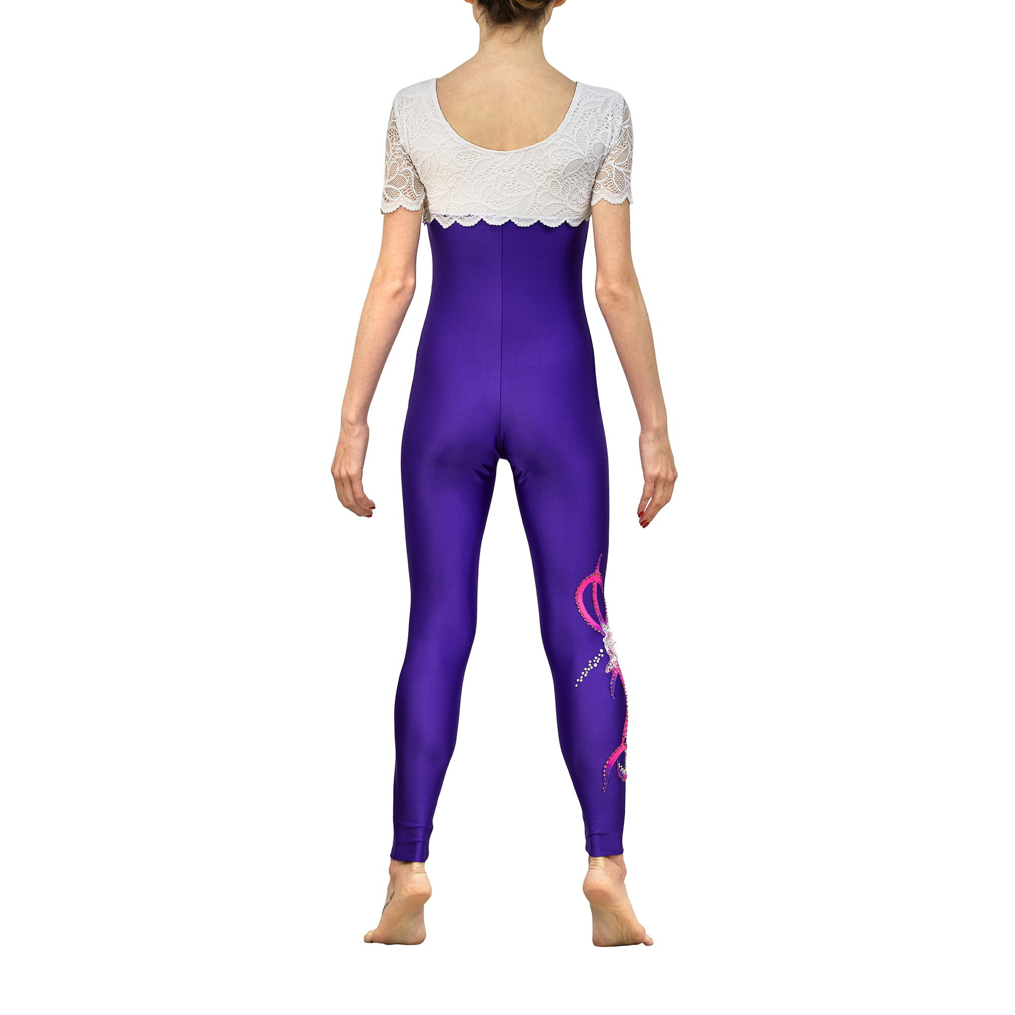 Rhythmic Gymnastics Jumpsuit 249 with winglet sleeves, but without collar - made in violet, fuchsia & white colors