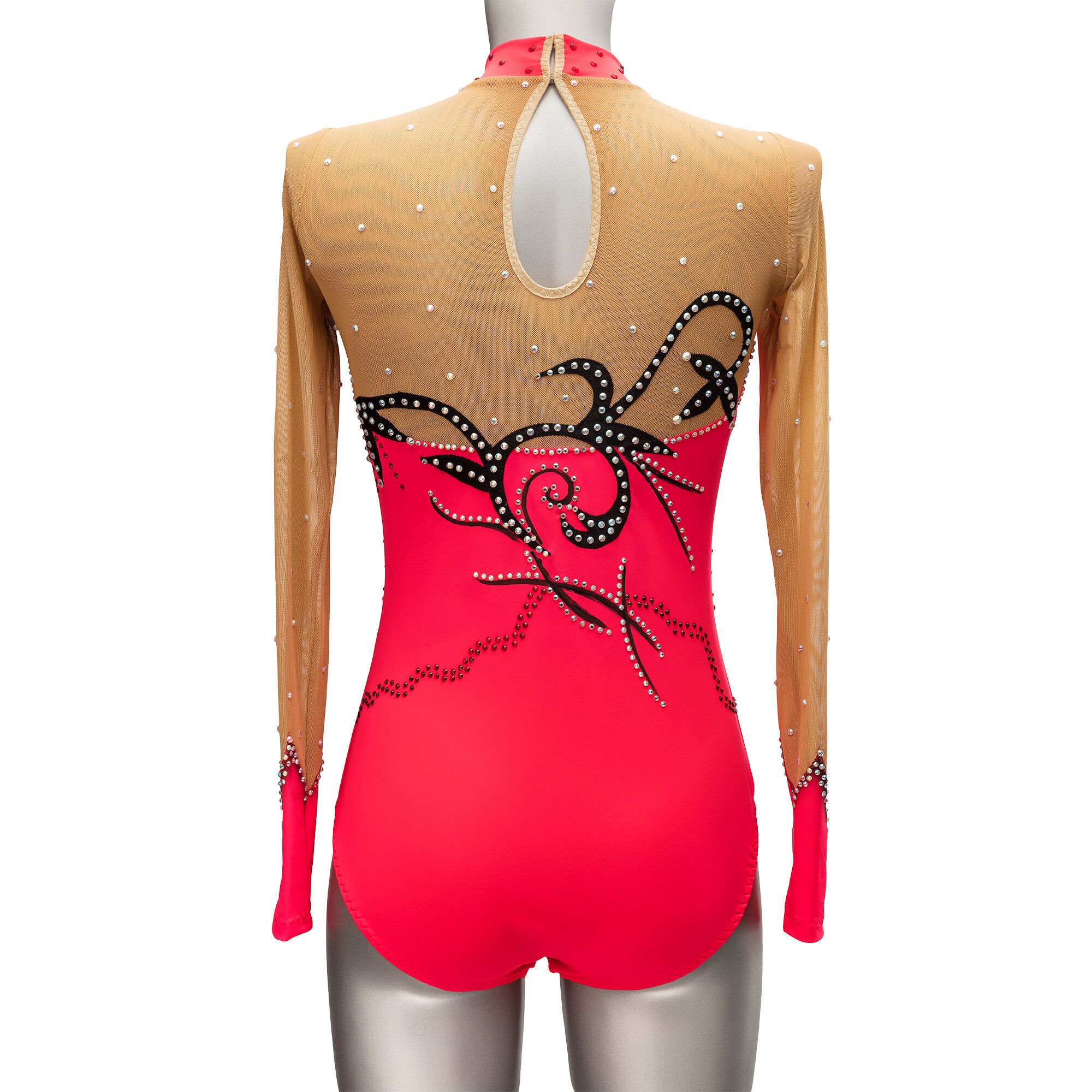 Rhythmic Gymnastics Leotard № 25 could be sewn as Dress Rhythmic Gymnastics, Ice Figure Skating Dress, Costume Acrobatic Gymnastics, Baton Twirling or Dance Leotard Suit. Embellished stand-up collar and accents on the sleeves.