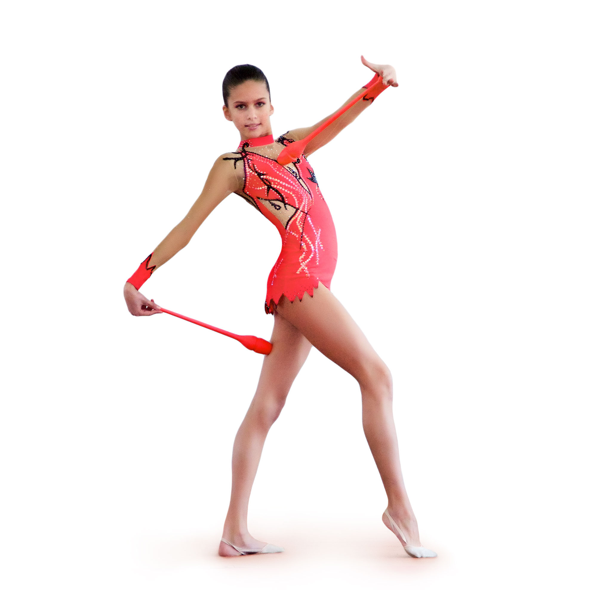 Coral, black, mesh Rhythmic Gymnastics Leotard 25 for competitions