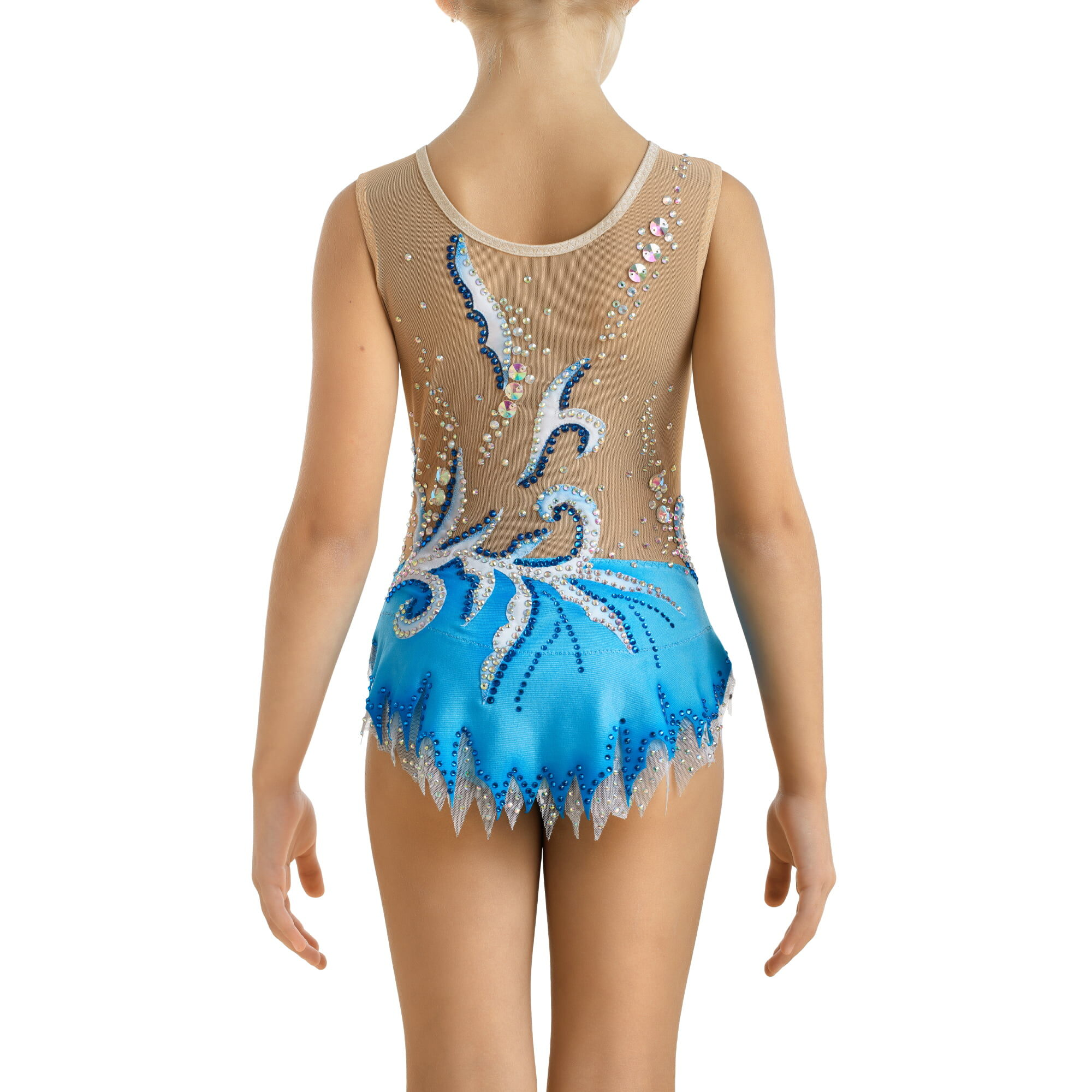 Blue, silver, mesh Baton Twirling Costume 250 for competitions