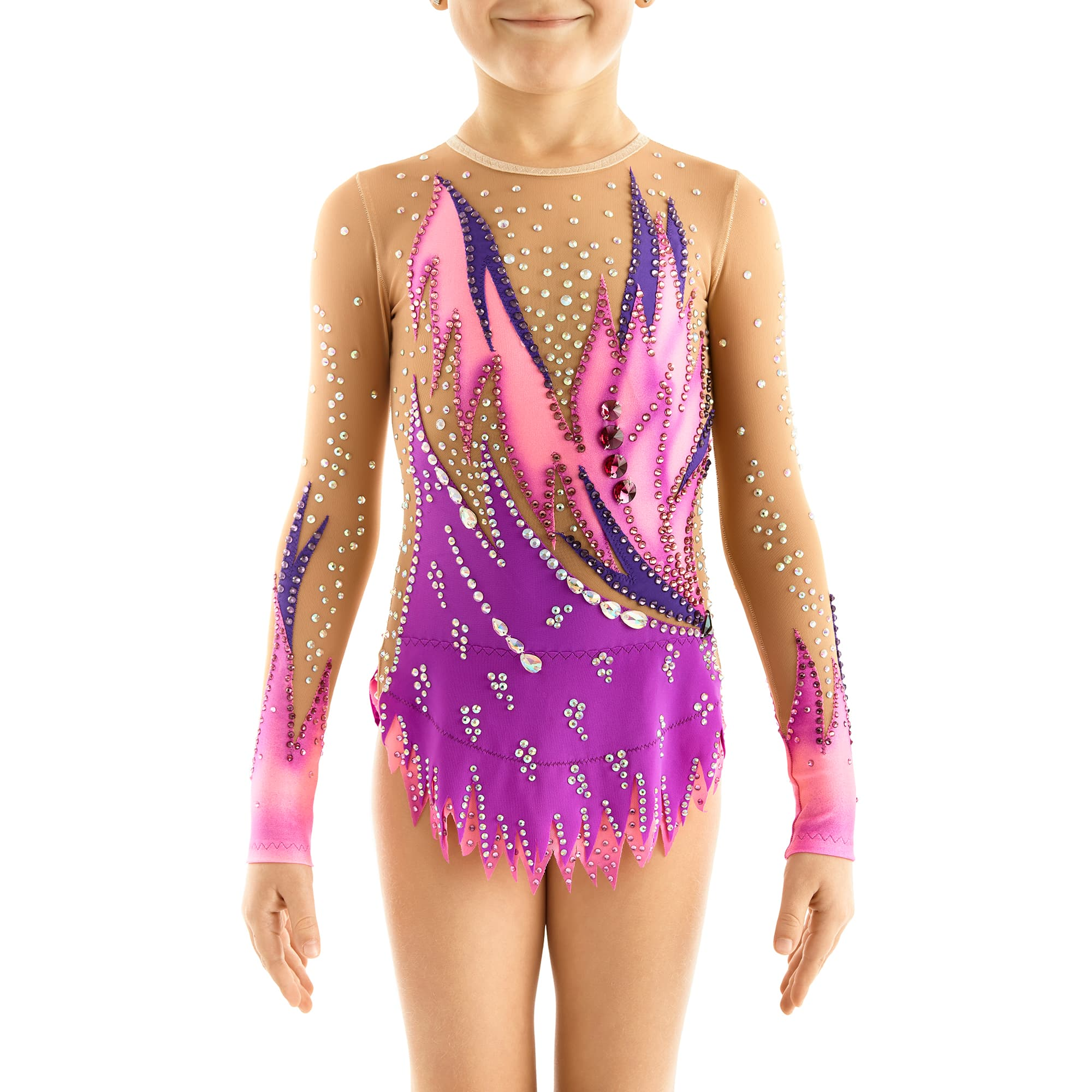 Front of Rhythmic Gymnastics Leotard № 251 with two sleeves, 2 layered skirt made in violet, magenta, pink colours with Swarovski crystals