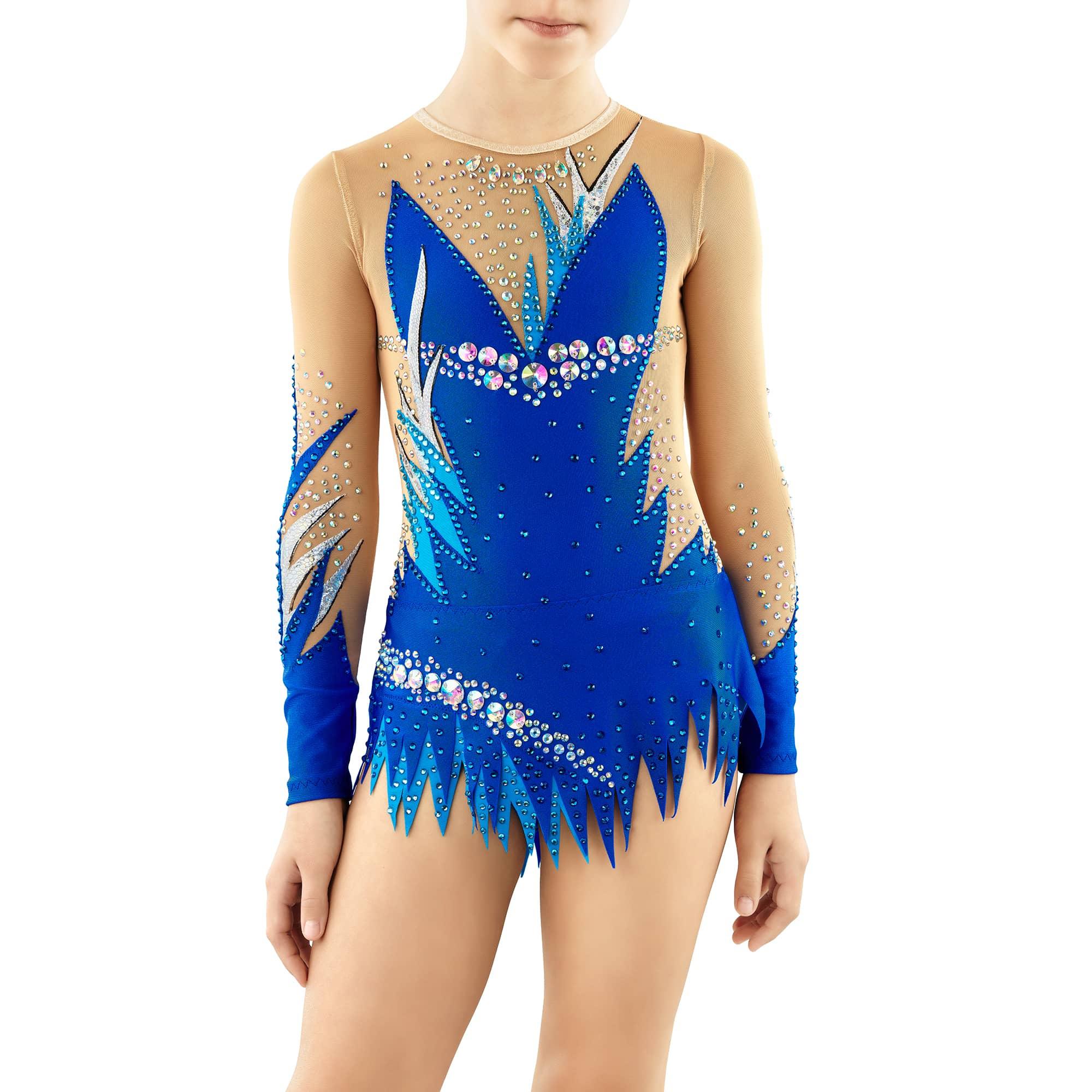 Royal blue, blue, silver, mesh Rhythmic Gymnastics Leotard 252 for competitions