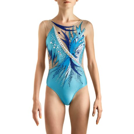 Front of Sleeveless & Skirtless Acrobatic Gymnastics Leotard № 255 made in aqua, royal blue, blue, white colours