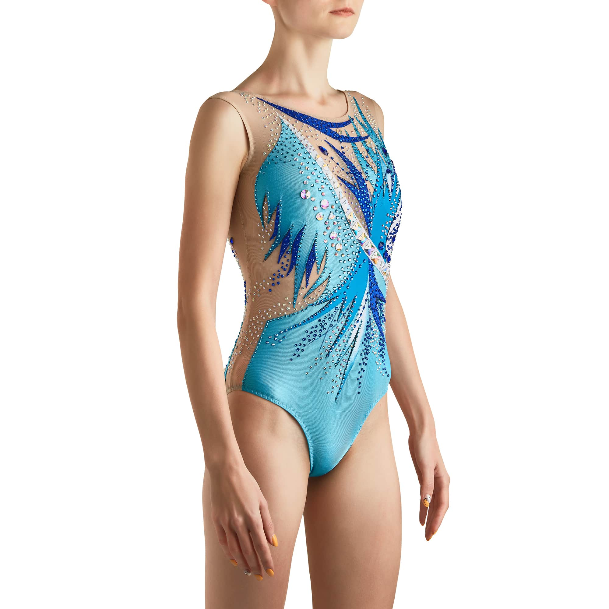 Quarter side of Sleeveless & Skirtless Acrobatic Gymnastics Leotard № 255 made in aqua, royal blue, blue, white colours