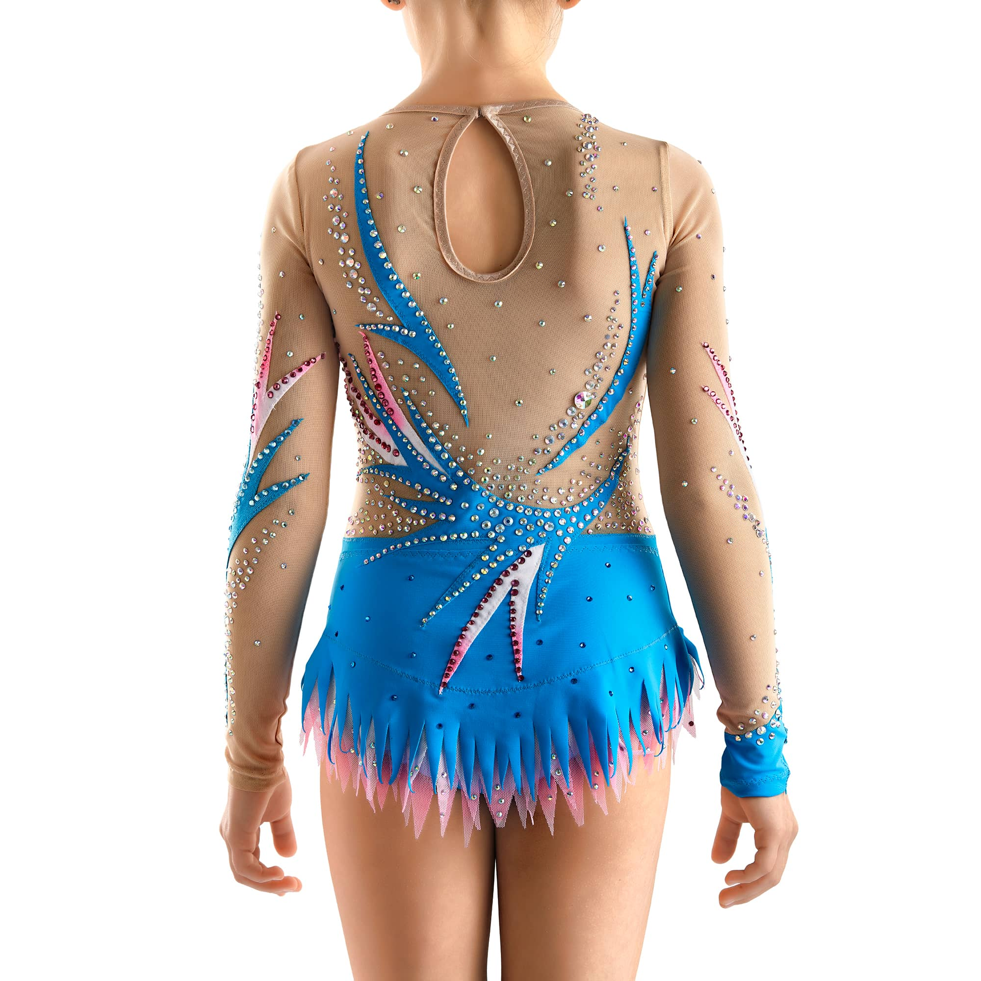 Back of competition leotard № 257 with 3 layered skirt, two sleeves & collarless made in royal blue, pink & white colours