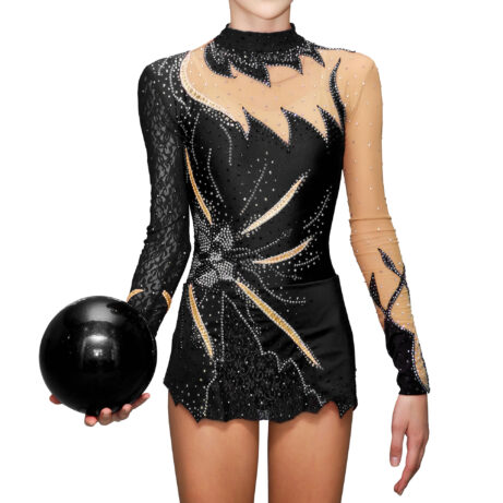 Black Rhythmic Gymnastics Leotard № 27 could be sewn as Dress Rhythmic Gymnastics, Ice Figure Skating Dress, Costume Acrobatic Gymnastics, Baton Twirling or Dance Leotard Suit. Decorated with stand-up collar, large flower applications and lace on the skirt and sleeves
