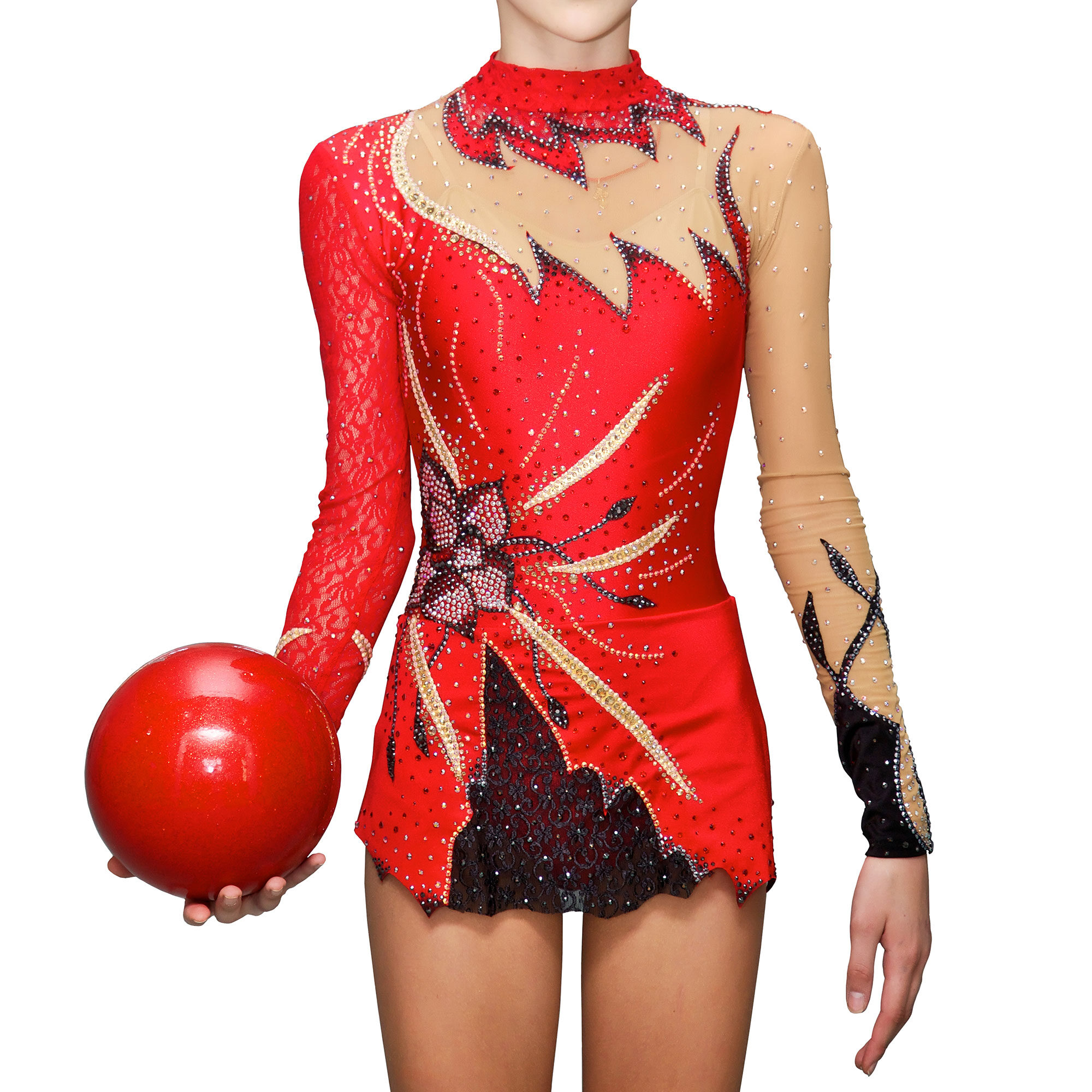 Rhythmic Gymnastics Leotard № 27 could be sewn as Dress Rhythmic Gymnastics, Ice Figure Skating Dress, Costume Acrobatic Gymnastics, Baton Twirling or Dance Leotard Suit. Decorated with stand-up collar, large flower applications and lace on the skirt and sleeves