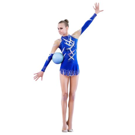 Rhythmic Gymnastics Leotard 3 in blue, white, random & mesh colors