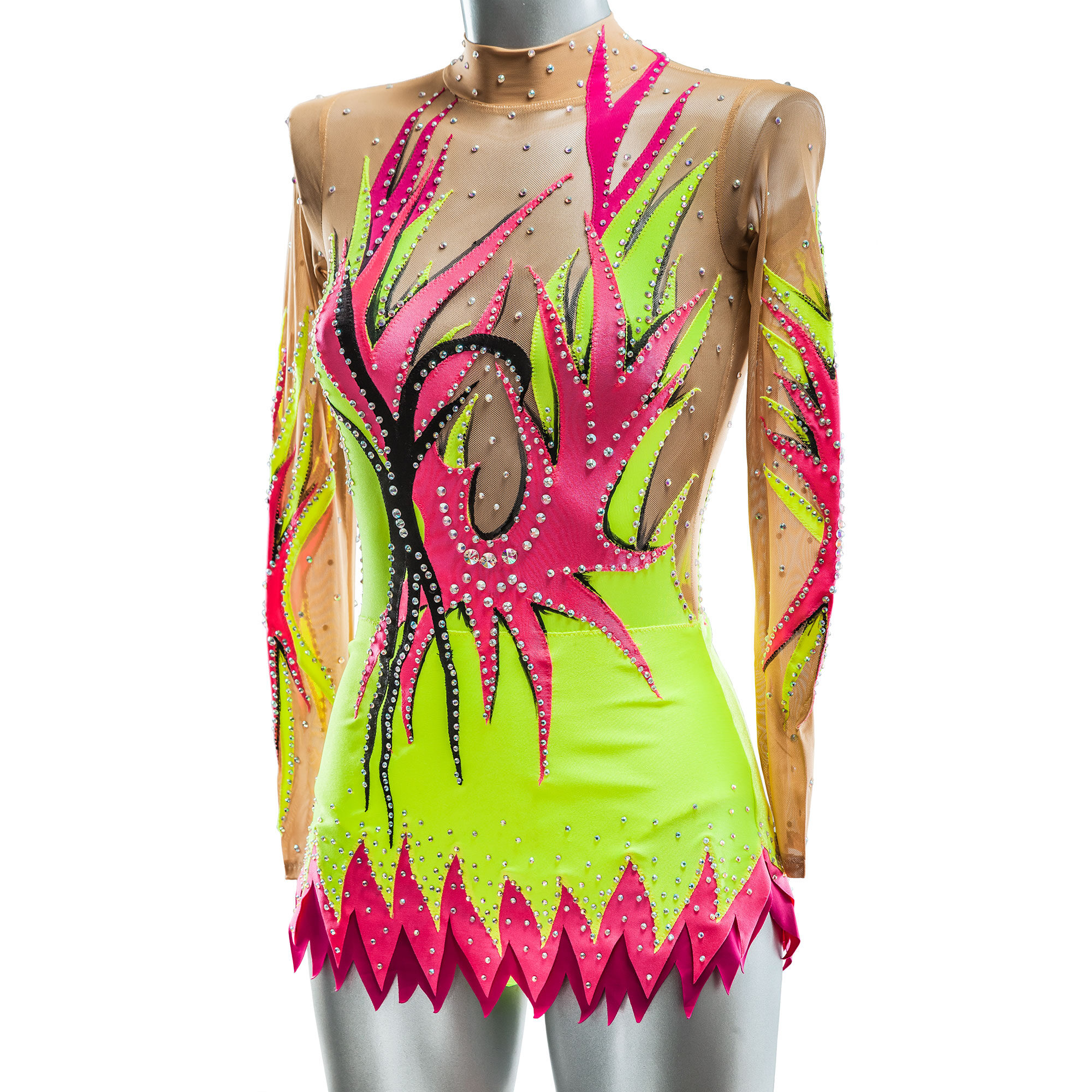Rhythmic Gymnastics Leotard № 41 could be sewn as Dress Rhythmic Gymnastics, Ice Figure Skating Dress, Costume Acrobatic Gymnastics, Baton Twirling or Dance Leotard Suit. Colored appliques and amazing shapes