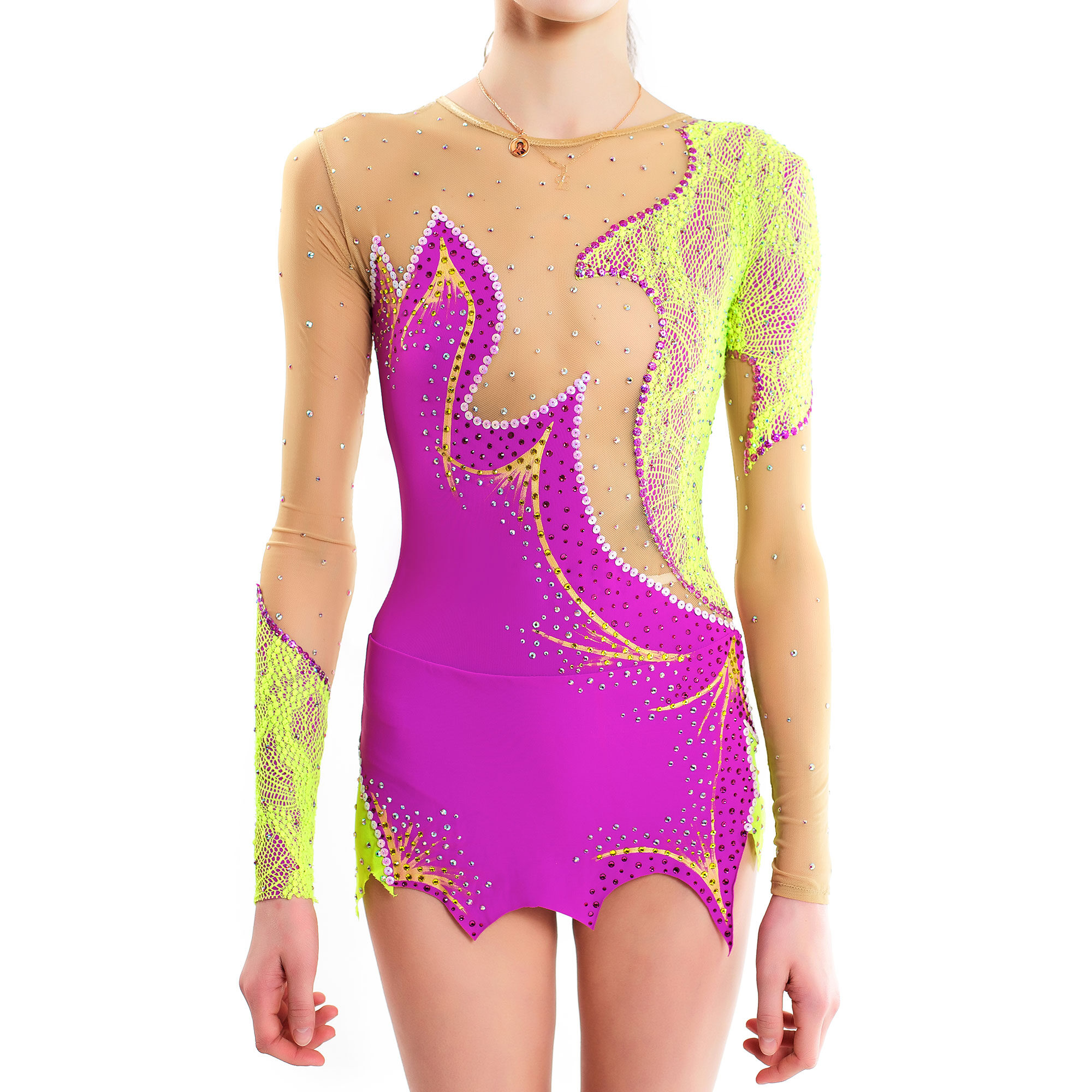 Rhythmic Gymnastics Leotard 47 made in liliac, salad guipure & mesh colors