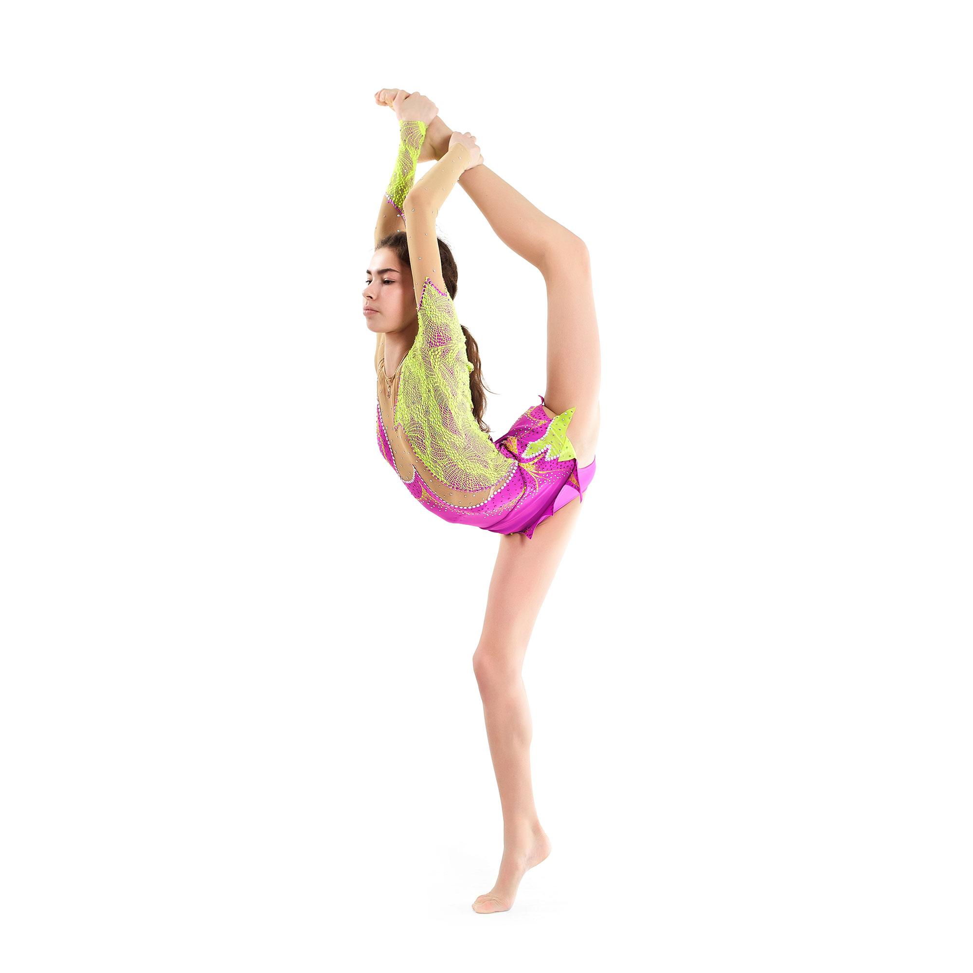 Rhythmic Gymnastics Leotard 47 made in liliac, salad guipure & mesh colors