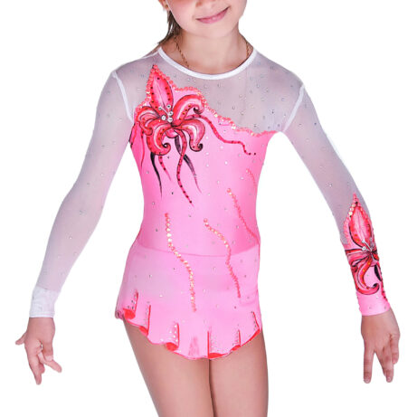 Rose & White mesh Rhythmic Gymnastics Leotard 51 made by gymnast's measurements for trainings and competitions
