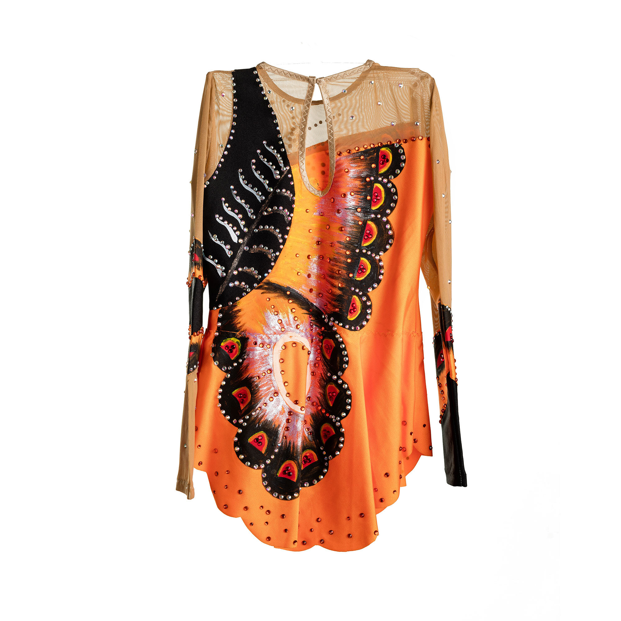 Orange, black, mesh Rhythmic Gymnastics Competition Butterfly Leotard № 62 with skirt & paintings