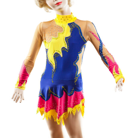 Rhythmic Gymnastics Leotard 69-v2 in blue, crimson, yellow & mesh colors