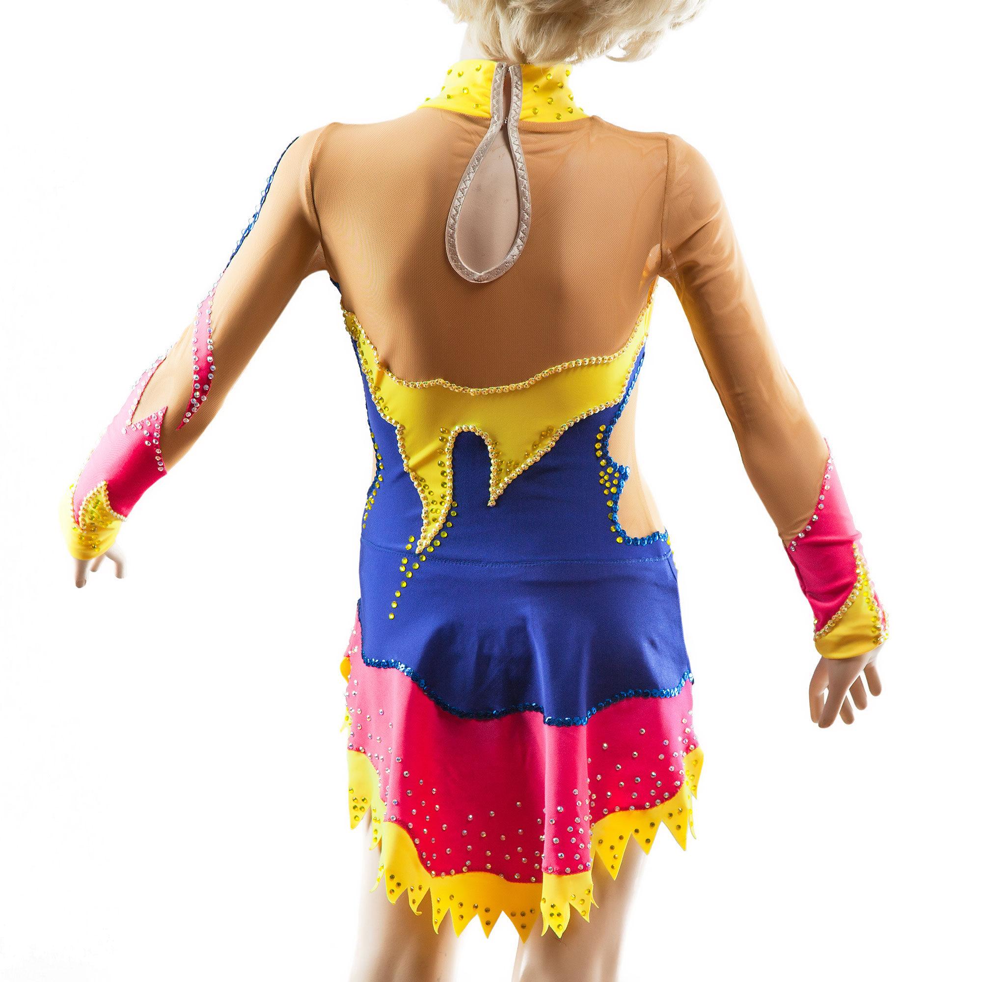 Rhythmic Gymnastics Leotard 69-v2 in blue, crimson, yellow & mesh colors