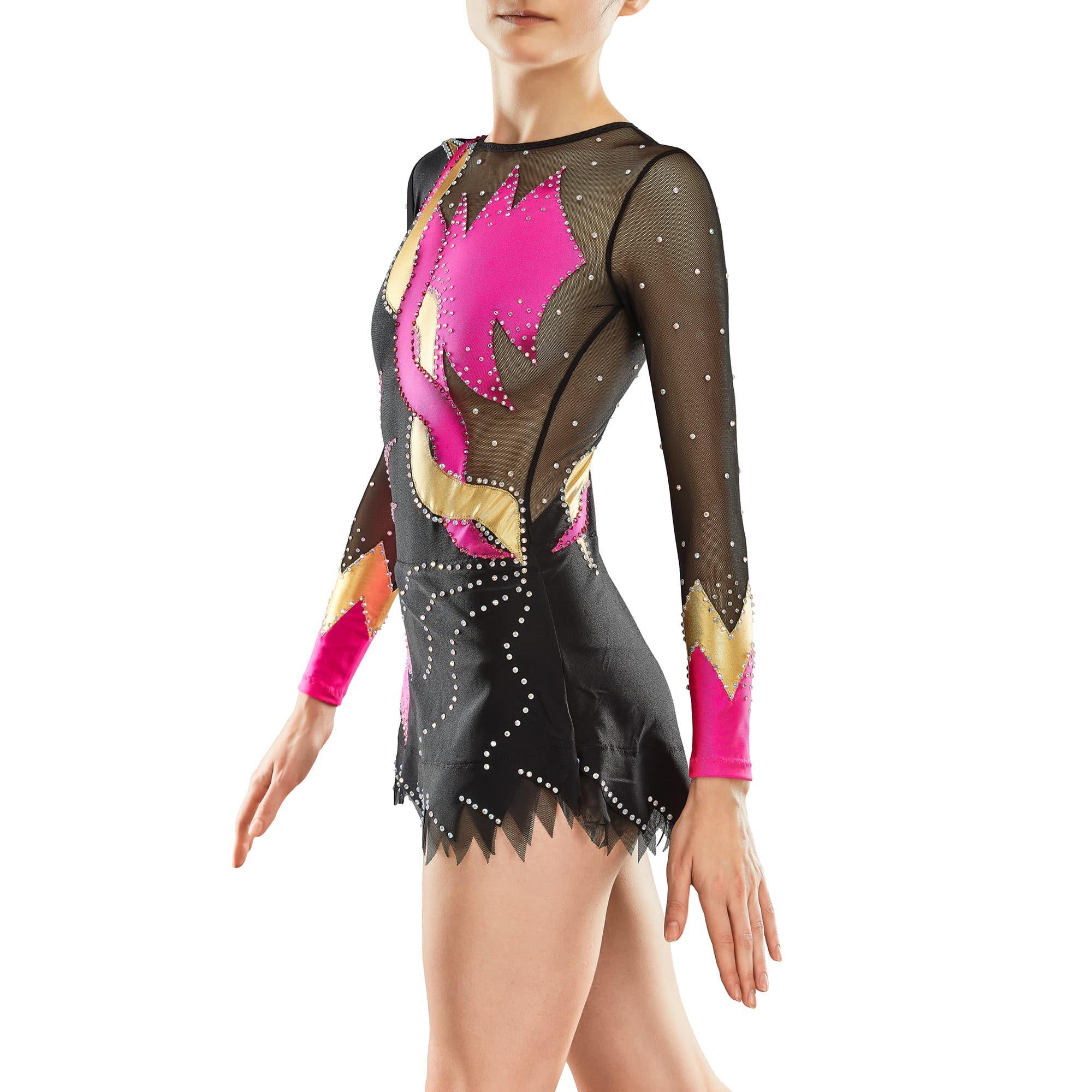 Fuchsia, black, gold, black mesh Rhythmic Gymnastics Leotard 82 for competitions