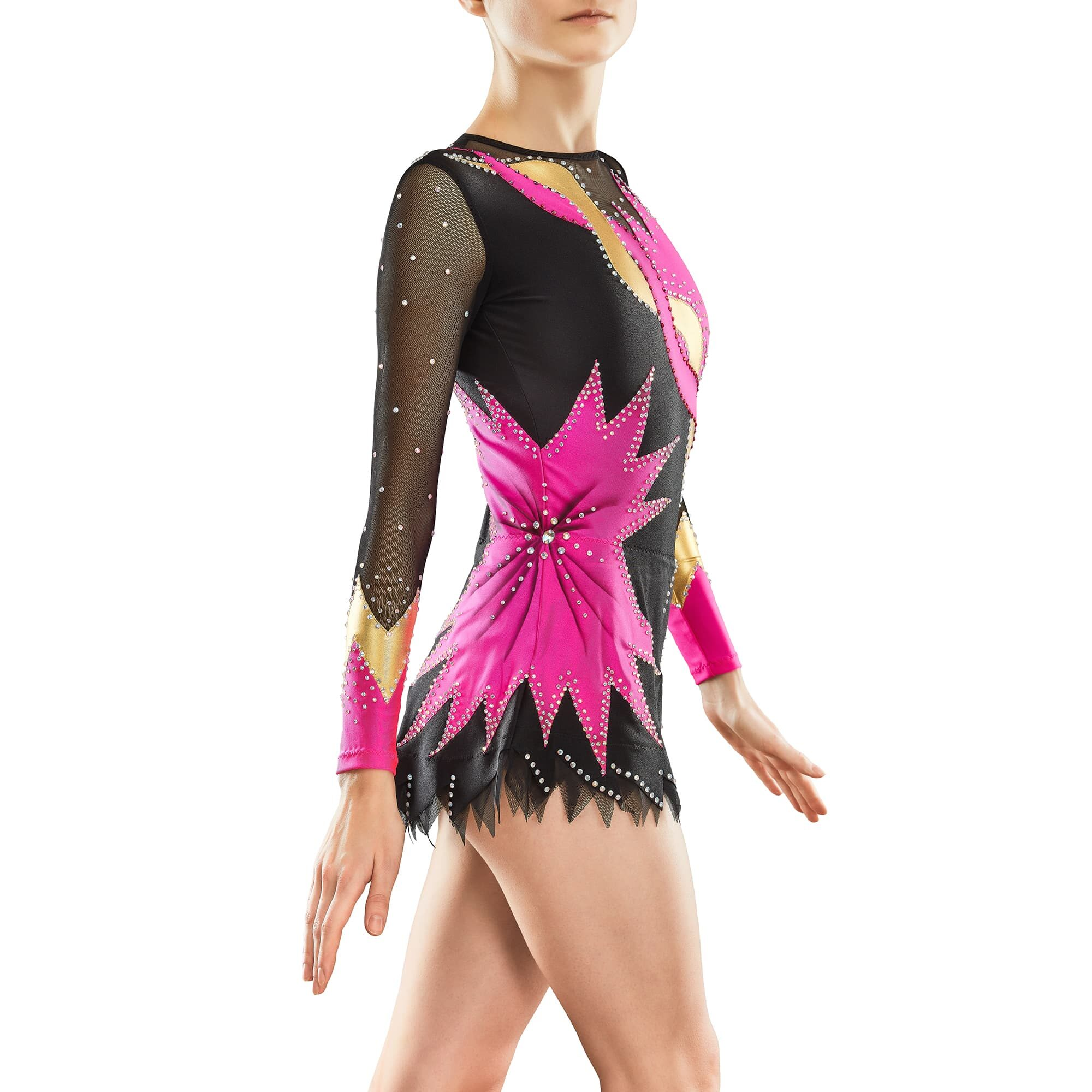Fuchsia, black, gold, black mesh Rhythmic Gymnastics Leotard 82 for competitions
