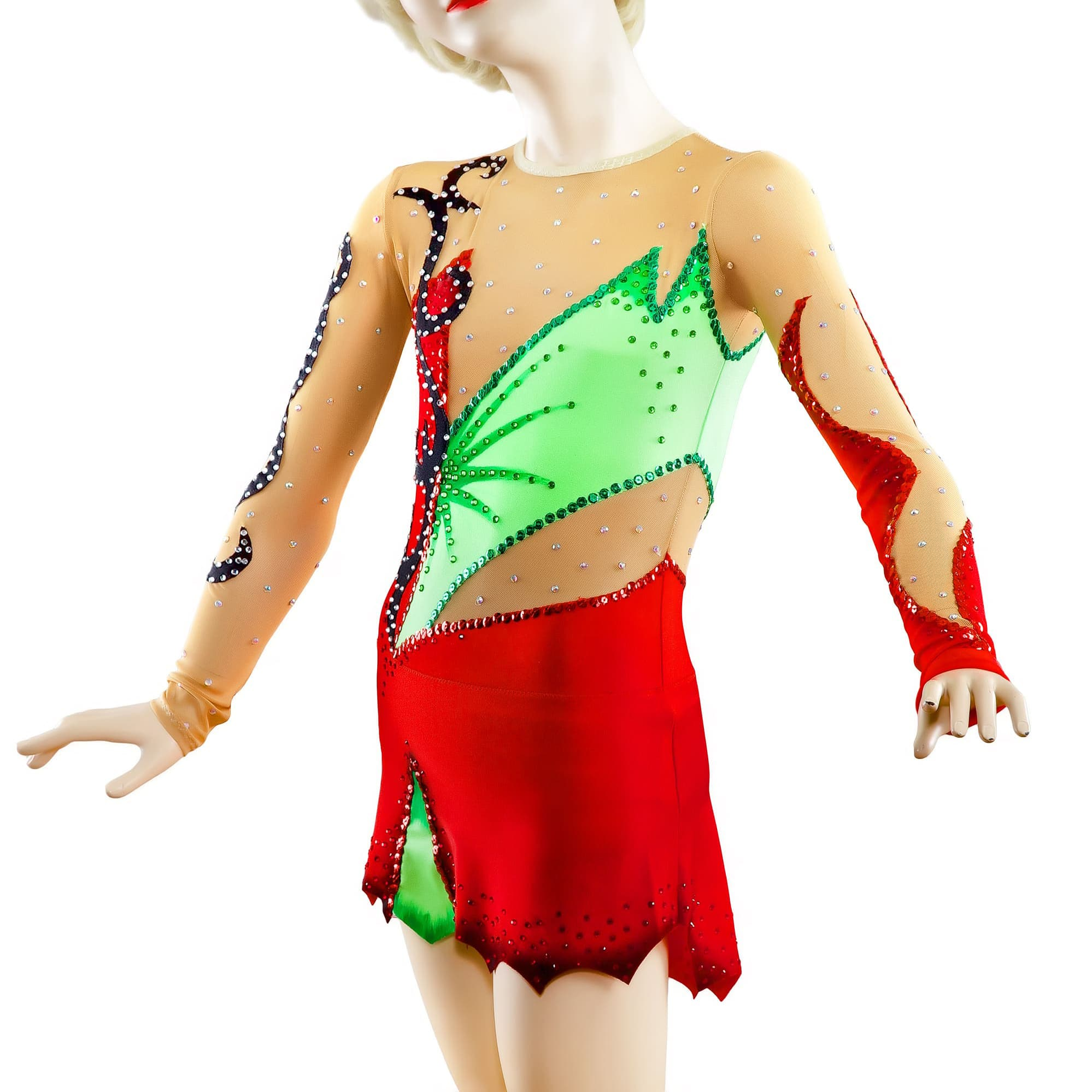Red, green, mesh Rhythmic Gymnastics Leotard 156 for competitions